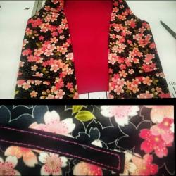 Costura Chaleco y bolso nudo con tela Sakura
