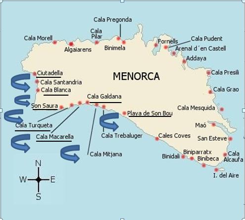 Mapa De Menorca Calas.Playas Del Sur De Menorca Y Ciutadella Barbiegirl Travels