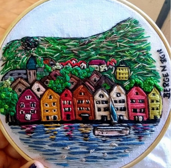 mis bordados en Bergen, Escandinavia