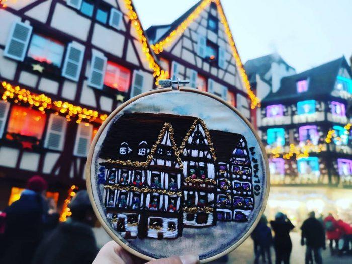 Colmar, Alsacia, bordada a mano